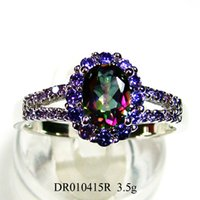 Wholesale Fashion jewelry Ellipse Amethyst stone ring mystic main stone wedding Ring Copper rhodium plating DR010415R