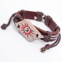 Wholesale Pottery Bracelets - Europe and America Sun totem primitive tribal customs bracelet fashion jewelry Genuine leather Painted pottery bangle wholesale price