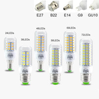 Wholesale Bulb B22 - SMD5730 E27 GU10 B22 E12 E14 G9 LED bulbs 7W 9W 12W 15W 18W 110V 220V 360 angle LED Bulb Led Corn light