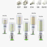 lumières led achat en gros de-L'ampoule de l'angle LED de SMD5730 E27 GU10 B22 E12 E14 G9 LED ampoules 7W 9W 12W 15W 18W 110V 220V 360 a mené la lumière de maïs