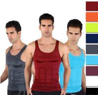 chaleco para adelgazar camisa de los hombres al por mayor-2017 Mens adelgaza la camiseta del chaleco de la talladora del cuerpo Top sin mangas de los hombres chaleco de la cintura de la barriga Pierde la camisa del peso Slim Compression Muscle Tank Shapewear para los hombres