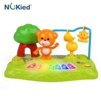 Wholesale Electronic Piano Toy Microphone - NUKied Kids Music Fountain Electronic Keyboard Toy With Microphone Song Light Sound Musical Instrument Educational Forest Piano
