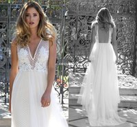 Wholesale Summer New Bohemia Chiffon Dress - New 2017 Bohemia Summer Wedding Dresses Backless Beading Lace Plunging Chiffon Floor Length Beach Country Casual Wedding Bridal Gowns Sexy