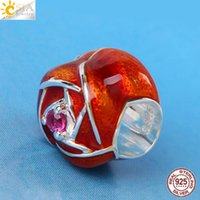 CSJA Certificado Real 925 Sterling Silver DIY Europeu Beads Fit Pandora Mulheres Pulseiras Jóias Red Rose Sun Flower Shaped Lover Gift E613