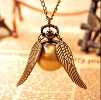 Wholesale Ball Watch Steampunk - Vintage Bronze Steampunk Harry potter Golden Snitch ball pocket watch necklace children pendant chain good quality