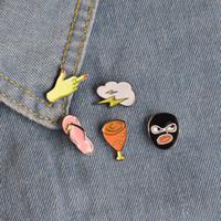 Wholesale Flip Flop Sets - Colorful Statement Unique Enamel Brooch Set Flip Flops Lightning Robber Pop Culture Chicken Leg Lapel Hat Collar Pins Women Men Jewelry