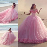 Wholesale Brown Ball Gown Tulle Prom - 2016 Quinceanera Dresses Baby Pink Ball Gowns Off the Shoulder Corset Hot Selling Sweet 16 Prom Dresses with Hand Made Flowers