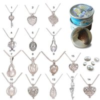 Wholesale Locket Hearts Wholesale - New 15 Style Love Wish Pearl Cages Locket Pendant Neclace Silver Plated Venice Chain Freshwater Pearls Fashion Necklaces Fine Jewelry A116