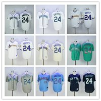 Wholesale Ken Griffey Jr Jersey Seattle Mariners Baseball Jersey Flexbase Coolbase Throwback Green White Grey Cream