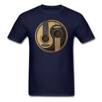 acústica personalizada venda por atacado-Venda por atacado - Men Man's impressão de guitarra acústica Yin Yang camiseta manga curta do namorado personalizado Tshirt para homens