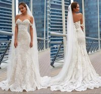 Wholesale Cheap Corset Back Wedding Dresses - 2018 Gorgeous Mermaid Lace Wedding Dresses Elegant Full Lace Appliques Corset Back Cheap Long Train Wedding Gowns Bridal Gowns