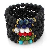 Wholesale Mala Turquoise - Domika Men's Women Turquoise Lava Stone Bracelet Crystal Reiki Healing Balancing Round Beads Mala Meditation Bracelet B362S