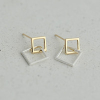 5 pares / lote Real Pure New Fashion 925 Sterling Silver Geometric Double Square Stud Earrings para mulheres Sterling Silver Jewelry