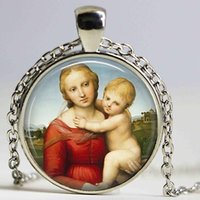 italienische anhänger großhandel-MADONNA Cabochon Halskette von italienischen Künstler Raphael Renaissance Religiöse Halskette Religiöse Anhänger Jungfrau Maria