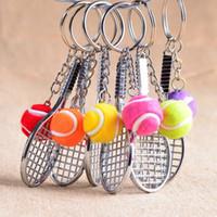 Wholesale Tennis Keychains Wholesale - Mini tennis racket keychains Colorfull Tennis key chain gift keyring sport products Tennis Fans Wholesale J1380