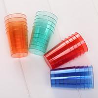 Wholesale Colours Plastics Cups - Wholesale-20pcs Disposable 30ml Glasses Cups Plastic Cup Coloured Shot Transparent Glassware Kitchen