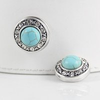 Wholesale Link Metal Bracelets - Wholesale-JACK88 NEW 10pcs lot Metal Snaps TURQUOISE Blue Crystal Ginger Snap Jewelry 18mm Button Fit Charm Bracelet Snaps Jewelry N839
