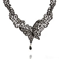 Wholesale Gothic Victorian Fashion - Fashion Women Vintage Handmade Retro Gothic Black Lace Alloy Butterfly Choker Necklace Victorian Lace Short Necklace