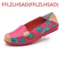Wholesale National Wind Shoes - OK New Hot National Wind Flowers Handmade Genuine Leather Shoes Women Retro Soft Bottom Flat Shoes Summer Canvas Ballet Flats35--41