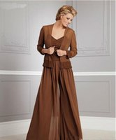 Wholesale Square Neckline - Autumn Chiffon Plus Size long Sleeves Mother of the Bride Pants Suits with Jacket Square Neckline spaghetti Applique Groom Mother Dresses