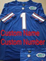 Factory Outlet-Benutzerdefinierte Günstige Genäht 2015 New Season Florida Gators Trikots SEC patch Weiß Blau Orange College Football Trikots, Freies Verschiffen