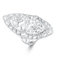 Wholesale Wholesale Stone Sculptures - Hot Selling High Quality Silver Planted Ring Classical Creative Sculpture Ring Fashion Jewelry Beautiful Wedding   Engagement GifR698-8