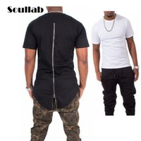 Wholesale Hooded Plaid Shirt Men - Wholesale- Black White Red Plaid XXXL Long Back Zipper Streetwear Swag Man Hip Hop Skateboard Tyga T-shirt T shirt Top Tees Men Clothing