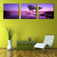 Wholesale Lake Picture Frame - 3 Picture Combination Canvas Painting Purple Wall Art Painting Sunset Lake On Canvas with Wooden Frame For Home Decor as Gifts