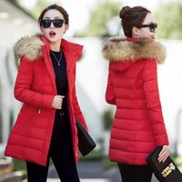 Wholesale Girls Down Jacket Fur - 2017 winter coat fur collar women slim slim girls cotton padded down long filling cotton padded jacket