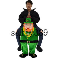 Wholesale Mascot Elf - Mascot costume with my ride a green man green elves Christmas dress funny costumes