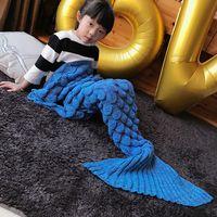Wholesale Crochet Christmas Bag - New 140 * 70cm Soft Mermaid Tail Blanket Tarja Large Handmade Crochet Knit Mermaid Tail Adult Sleeping Bag Christmas Bed Present