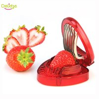 Wholesale Cake Decorations Tools - Delidge 1 pc Red Strawberry Slicer Plastic Fruit Carving Tools Salad Cutter Berry Strawberry Cake Decoration Cutter