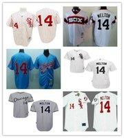 Wholesale Cheap Sewn Buttons - Cheap Mens Chicago White Sox #14 Bill Melton White Blue Gray 1970 1972 Throwback Zipper Button Sewn On Baseball Jerseys