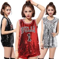 Hot Nightclub Ds Mostra Vest Tops Nuova Femminile Performance Song Jazz Dance Hip Hop Street Dance Abbigliamento Basketball Sequins Baby Shirt senza Maniche