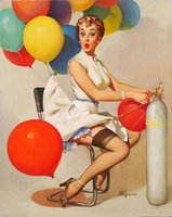 Wholesale Life Size Poster - VINTAGE PINUP GIRL Gil ELVGREN,Hand Painted Art Oil painting Poster Taking off Helium Gas,Home Wall Decor High Quality Canvas Multi sizes