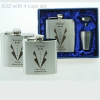 Wholesale Wholesale Flask Personalized - Wholesale- Personalized Groomsmen gift ,best man gift 4 oz or 6oz ounce stainless steel hip flask