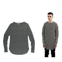 Wholesale Striped Plus Size Tee Shirts - Justin bieber T-Shirt Mens Hip Hop Streetwear Striped Tee Long hole Sleeve O-neck T Shirt KANYE Plus size t-shirts