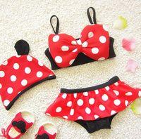 Wholesale Girl S Minnie - Mickey Minnie Baby Girl Bow Bikinis Set bikini Bathing Suit Swimwear plavky Tankini Swimsuit biquini Costume