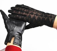 Wholesale Thin Black Leather Gloves - Wholesale- 2017 Top Fashion Leather Gloves Female Gloves Leather Ladies Thin Sheepskin Embroidery Lace No Lining Spring And Summer Driving