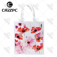 Wholesale colorful watercolor - Wholesale- Watercolor Colorful Elegance Poppy Flowers Print Individual Lightweight Polyester Fabric Reusable Grocery Bag Pack of 4