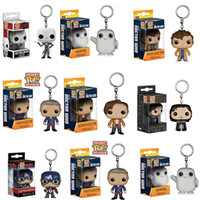 Wholesale Pc Game Cars - Free shipping 1 pcs Marvel movie Funko Pop game of keychain Deadpool Captain America funko pop Car key chain ring Christmas gift