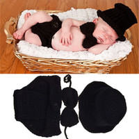 Wholesale crochet diaper hat set for sale - Group buy Black Color Baby Boy Crochet HAT Bowtie Diaper Set Crochet BABY Boy Gentleman Costume Newborn Coming Home Outfit