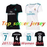 Wholesale Womens Ripped Shirts - Womens Reals Madrid jersey 2017 2018 Ronaldo Soccer jersey MODRIC BALE KROOS ISCO BENZEMA football shirts Camisa JAMES jersey