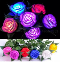 6 cores Wedding LED Rose Flower Night Light brinquedo LED Flower valentine gift Rose eletrônico LED Light Rose Decoração do casamento MYY