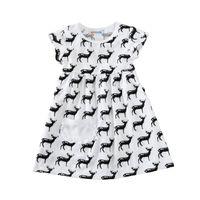 Wholesale Toddler Summer Dress Designs - New Fashion Summer Girls 100% Cotton Short Sleeve Dresses Children Kids Deer Design Printed White Dress Baby Toddler Leisure Pleated Dress