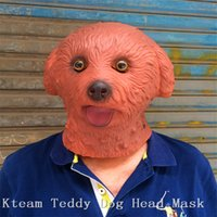 Wholesale Costume Teddy Bear Heads - Top Grade 100% Latex Funny Party Cosplay Teddy Dog Latex Mask Animal Head Mask Full Head Teddy Bear Mask Cosplay Costume Prop