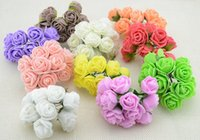 Grossiste-12pcs / lot 2.5cm tête Multicolor PE Mousse Mini Fleur Artificielle Rose Fleurs Bouquet mariage fleurs décoratives couronnes