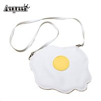 Wholesale Thin Messenger Bag - Wholesale-Women Gilrs Shoulder Bag Cute Eggs Bmelette Sweetie Shape Bolsa Fashion Student Soft Thin PU Leather Crossbody Messenger Bags