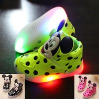 Wholesale Polka Dots Fabric Wholesale - 3 color Boys Girls Sneakers Kids Mickey Dot Led Lighting Shoes Child Casual Athletic Shoes Baby Luminous Flat Shoes Cartoon C884
