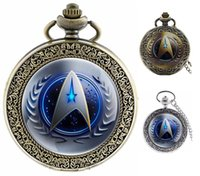 Wholesale Big Stationary - Fashion 47MM big dial mens womens students Antique Bronze 6 styles Star Trek gift pocket watches wholesale chain necklace watch